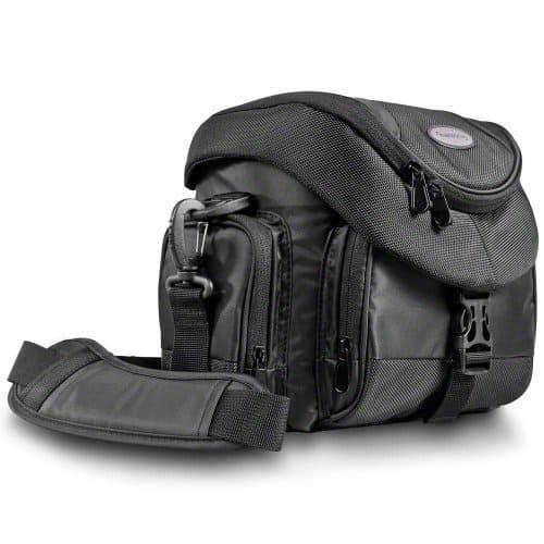 Mantona Premium SLR-Kameratasche (Schnellzugriff, Staubschutz, Tragegurt und Zubehörfächern) schwarz