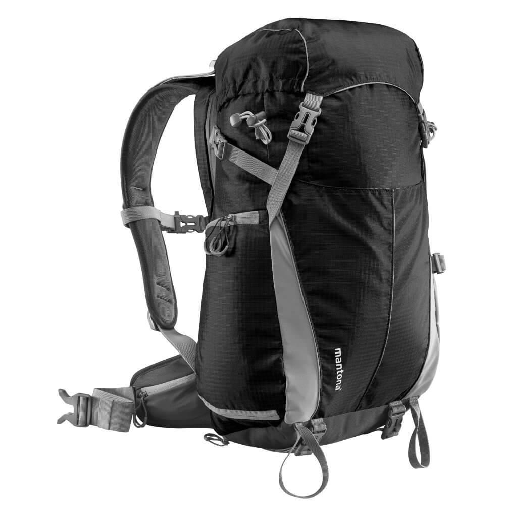 Mantona Elements Outdoor-Rucksack,  mit praktischer Regenhülle, in Schwarz